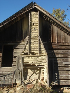 stick-and-mud chimney, chimney ruins, Arkansas