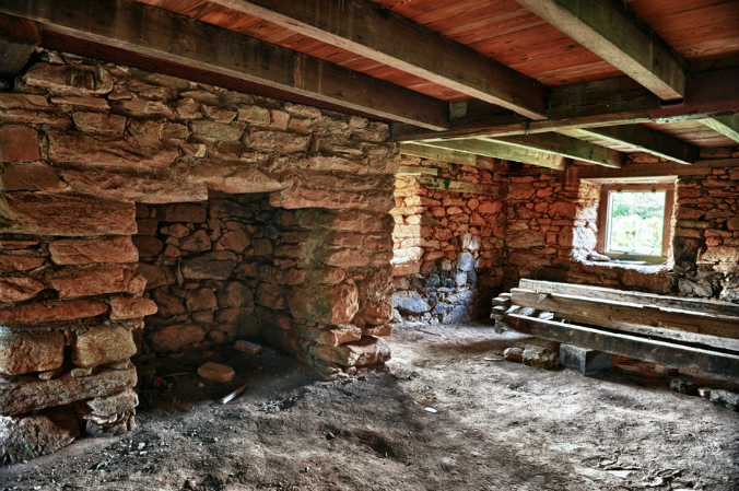 old stone fireplace, granite fireplace, Old Rock House, Georgia, old stone homes