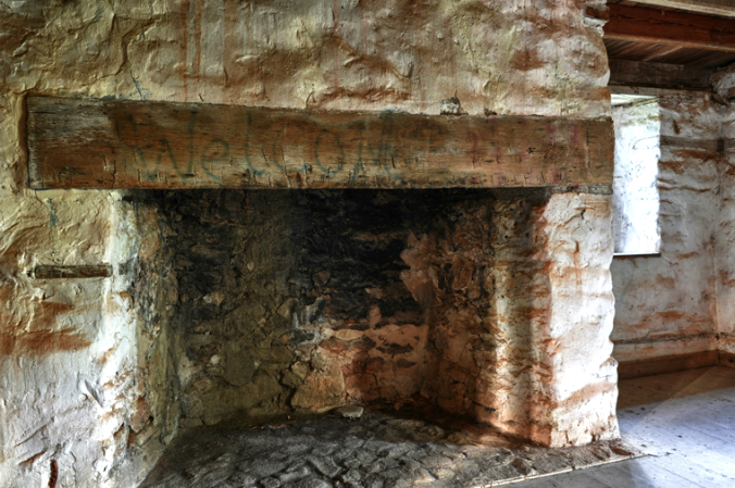 old stone fireplace, granite fireplace, old rock house, Georgia, old stone house