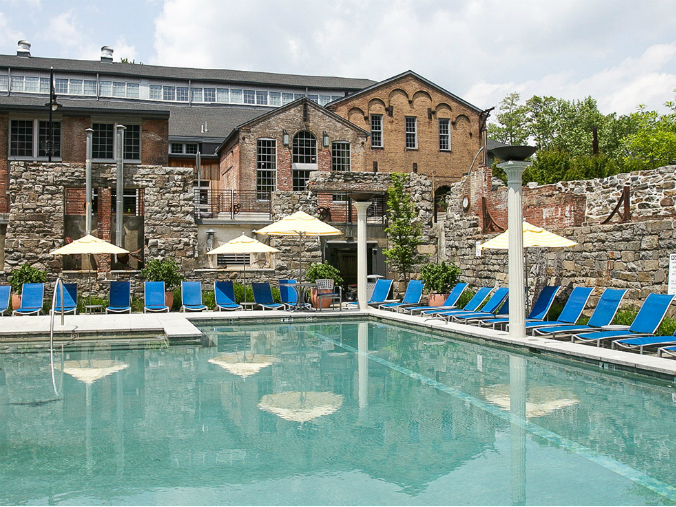 A community pool has been built within the ruins of a foundry in the Clipper Mill community, Baltimore, Maryland. Source: Thornhillbaltimore.com.