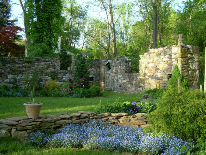 Old stone ruins, bank barn ruins, garden inside old stone ruins