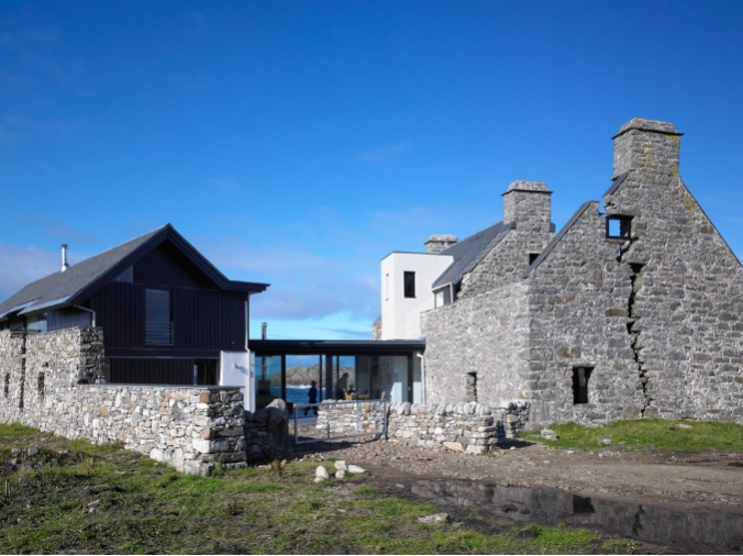 old stone home, Scotland, adaptive reuse, new home in old stone home