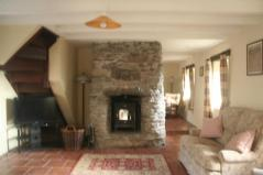 Old Stone cottage for sale in Ireland, old stone fireplace, Kenmare Bay and Caha Mountains