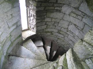 Old stone castle for sale in Ireland, Belvelly Castle in County Cork, stone staircase, 13th century