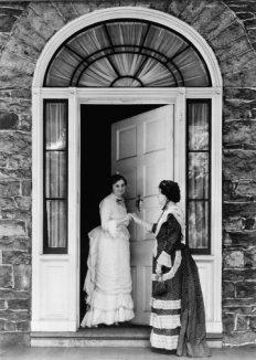 Federal-style front entrance, Fort Hunter Mansion, Harrisburg, Pennsylvania, old stone home