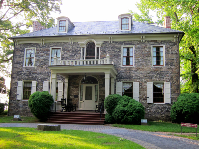 Fort Hunter Mansion, Front Entrance, Federal style stone mansion, old stone home, Harrisburg, PA, colonial home