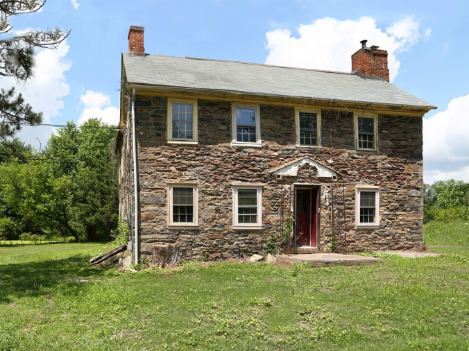 old stone farmhouse for sale in Pipersville, Pennsylvania, fixer upper, as is home for sale