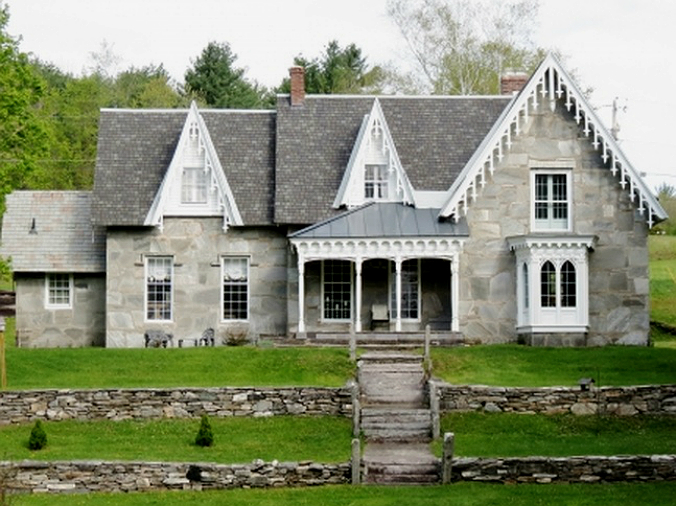 old stone home, old stone houses, gothic revival style, mica schist home, Cavendish, Vermont, historic homes, old stone homes for sale