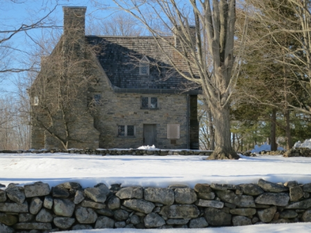 Henry Whitfield State Museum in Winter, holiday home tour, Christmas home tour, old stone home, old stone house, Connecticut