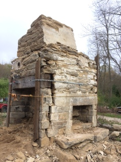 old stone fireplace. Chestnut lintel  old stone chimney fireplace Rhode Island early America chimneys Old Stone Houses