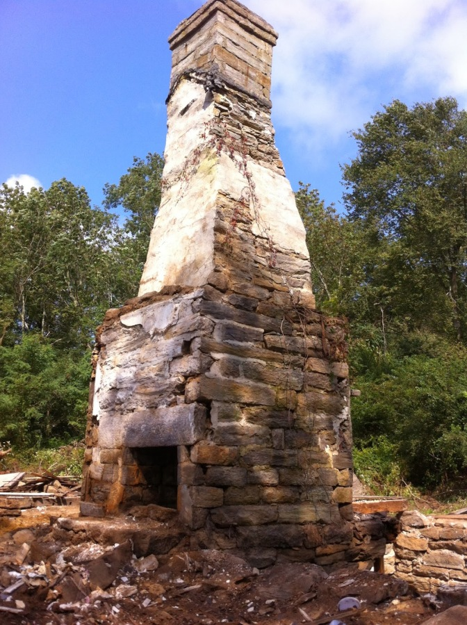 Historic stone chimney, Rhode Island, stone masonry, early America, old stone houses, architect Leonard J. Baum