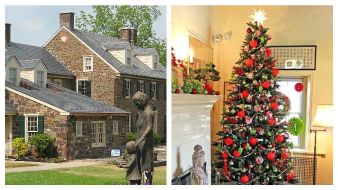 Pearl Buck House Festival of Trees old stone homes old stone houses holiday events
